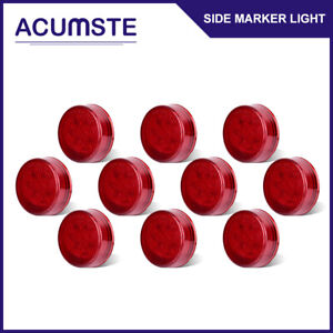 10x Red 2 5 Round 13 Led Truck Trailer Lights Led Side Marker Clearance Lamps