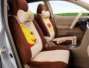18pcs 2017 New 1 Sets Cartoon Car Seat Cover Plush Seat Covers Car covers Brown