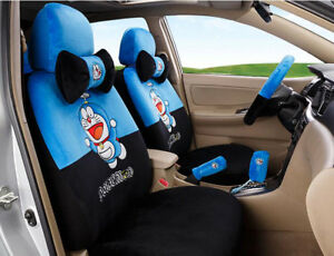 New 1 Set Cartoon Winter Plush Universal Car Seat Cover Seat Covers Blue