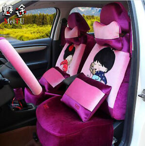 20ps set 2018 Female Plush Cartoon Universal Car Seat Cover Seat Covers M8660