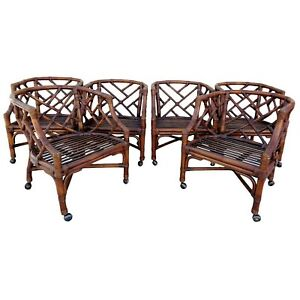 Vtg Set Of 6 Rattan Chinese Chippendale Barrel Back Tub Chairs Rolling