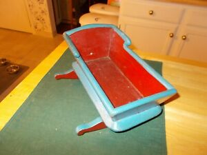 Late 1800s Early 1900s Hand Made Doll S Cradle In Original Red Blue Paint Cute