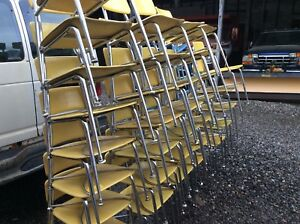 47 Vintage Heywood Wakefield Hey Woodite Adult Size Yellow Chairs Very Good