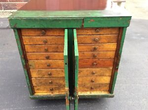 Antique Vintage Green Wood 16 Drawer Shop Cabinet Great Look Very Good