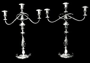 Matched Pair Of Triple Arm Silver Plate Candelabra Heritage 1847 Rogers Bros