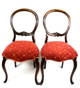 A Pair Of Antique Carved Walnut Balloon Back Chairs Free Shipping Pl5021