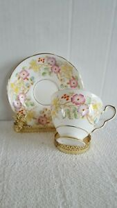 Royal Stafford Hedgerow Tea Cup And Saucer Hand Painted Floral Gold Trim