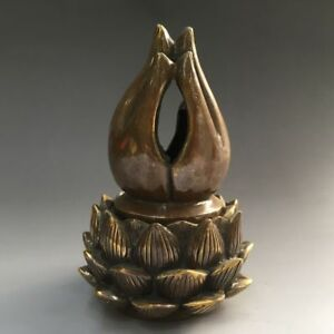 Chinese Old Ming Handmade Bronze Buddhism Hand Lotus Incense Burners Statue Yt