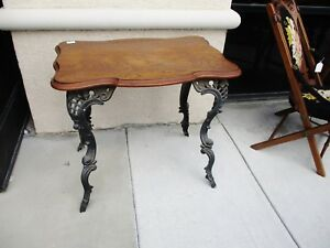 Victorian Table With Cast Iron Legs And Oak Top