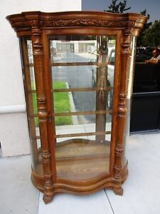 Victorian Attributed Horner 19th Century Curved Glass Oak China Cabinet Pawfeet