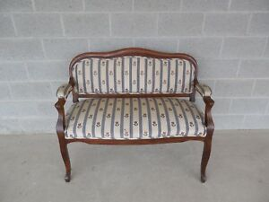 Antique Walnut Frame 19th Century Victorian Period Settee Bench 47 W