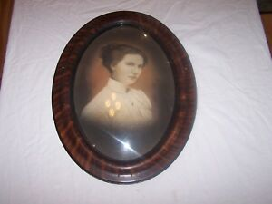Antique Vintage Oval Convex Bubble Glass Picture Frame Mary Hubbert Cass Indiana