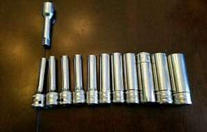 Snap On 1 4 Drive 6pt Deep Chrome Sockets 4 13mm With 2 Extension