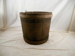 Antique Wooden Primitive Staved Banded Bucket Pail