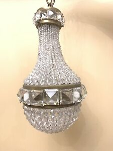 Antique Petite French Crystal Beaded Shade Balloon Chandelier Ceiling Fixture