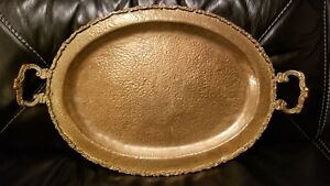 Unusual Antique Hand Hammered Heavy Solid Brass Serving Tray