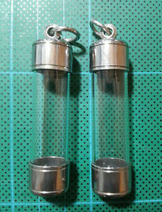 2 X Pcs Thai Amulet Takrud Takrut Tube Casing Case Frame Wholesale C11