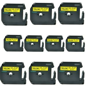 10pk Mk631 Mk 631 Black On Yellow Label Tape For Brother P touch Pt 65 12mm 1 2