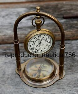 Antique Solid Brass Working Clock With Compass Vintage Gift By Antique Warehouse