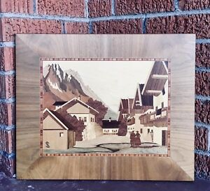 Large Vtg Mid Century German Wood Inlay Art Marquetry Signed S Marquetry Inlay