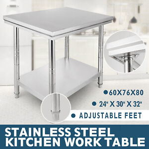 24x30 Stainless Steel Kitchen Work Table Bench Food Adjustable Feet Restaurant