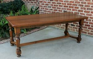 Antique French Country Oak Farmhouse Dining Farm Table Conference Library Desk