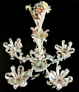 Vtg Rare French Small Bud Tole Flowers Hanging Fixture Chandelier Chic Shabby