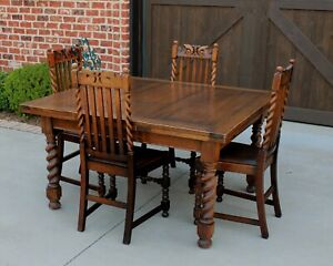 Antique English Oak Barley Twist Draw Leaf Dining Breakfast Table 95 Extended