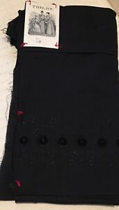 Antique Trilby Victorian Era Embroidered And Plain Black Cotton Fabric 7 Yards