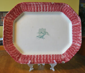 Antique Red Spatterware American Eagle Shield Ironstone Platter Staffordshire
