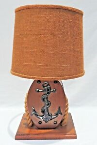 Vintage Mid Century 1950 S Wood Rope Nautical Boat Pulley Anchor Lamp 2008