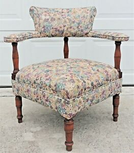 Antique Vintage Mahogany French Country Floral Upholstered Corner Chair 4701