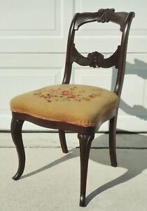Antique Vtg Mahogany Carved Flower Needlepoint Seat Side Dining Accent Chair