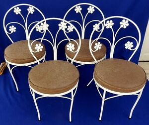 Set Of 4 Antique Vtg White Wrought Iron Flower Vinyl Seat Patio Dining Chairs