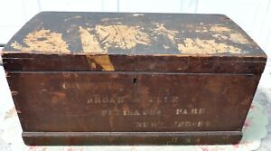 Large 40 Antique Vtg Wooden Chest Trunk W Drawers Palisades Park New Jersey