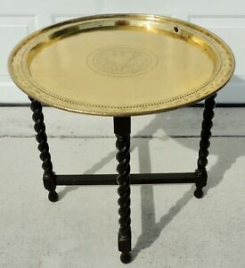 Antique 24 5 English Oak Barley Twist Brass Round Serving Tray Folding Table