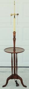 Antique Vintage Schott Solid Mahogany Brass Side End Accent Table Floor Lamp