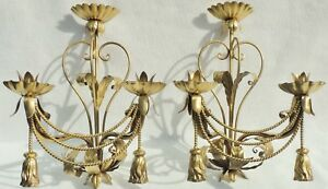 Large Pair Antique Vtg Gold Tole Metal Rope Tassel Candle Holder Wall Sconces