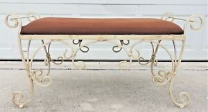 Large 39 5 Vintage Ornate Wrought Iron Twist Upholstered Bench 4704