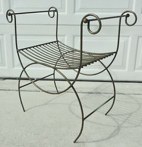 Antique Vtg Hollywood Regency Mid Century Metal Iron Vanity Bench Chair Stool