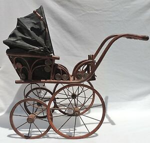 Large 32 Antique Vtg Wood Wicker Baby Doll Buggy Carriage Stroller Pram 3084