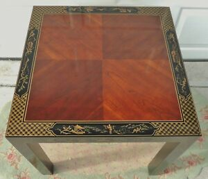 Antique Vtg Chinese Asian Black Lacquered Inlaid Mahogany Side End Accent Table