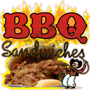 Bbq Sandwiches Concession Trailer Food Truck Pork Barbecue Menu Sign Decal