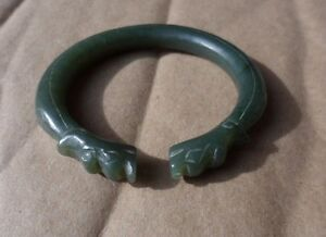 Antique Carved Chinese Jade Dragon Bracelet