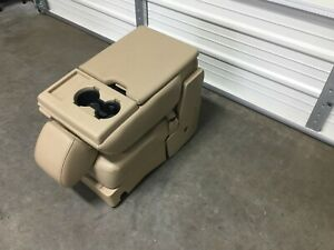2015 2019 Ford F150 F250 F350 Center Jump Seat Console Tan Leather Cup Holder