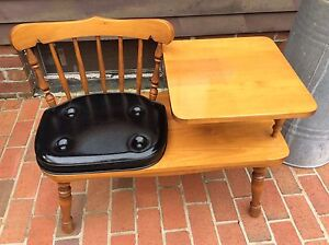 Vintage George B Bent Co Wood Telephone Chair W Attached Table Nice