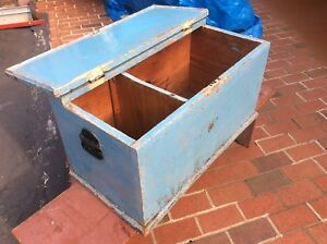 Vintage Blue 2 Compartment Wood Box With Hinged Lid Metal Handles Very Good