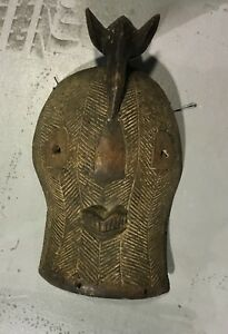 Old Authentic Rare Congo Large Original Carved African Bird Face Mask Tribal Art