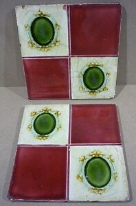 Pair Of Antique English Tiles 6x6 Inches Medallions And Squares Nice Colors