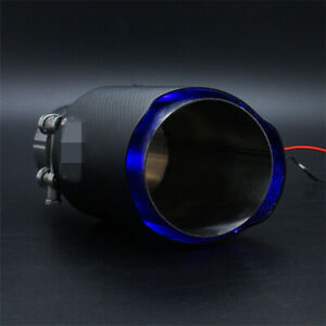 Universal Blue Led Car Exhaust 61mm Inlet Carbon Fiber Muffler Pipe Tail Light